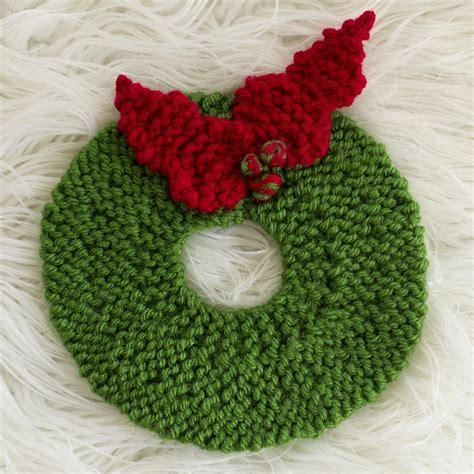 knitting christmas wreath pad pattern allfreeknitting