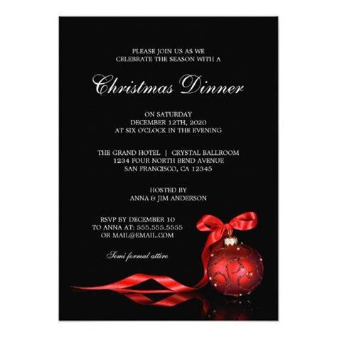 elegant christmas dinner party invitation template