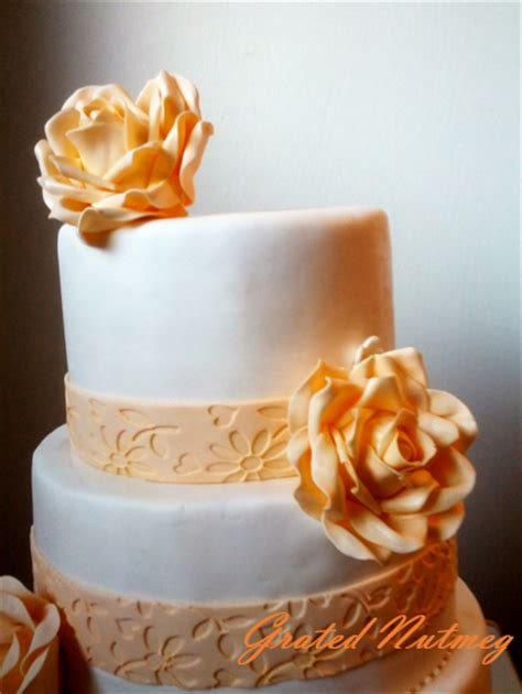 White and Gold Tiered Cake ? Grated Nutmeg