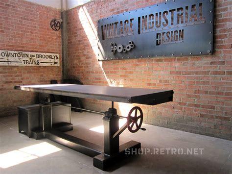 Vintage Industrial vintage industrial adjustable height crank table