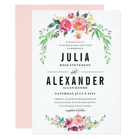 flower design wedding invitation bohemian floral wedding invitation zazzle com