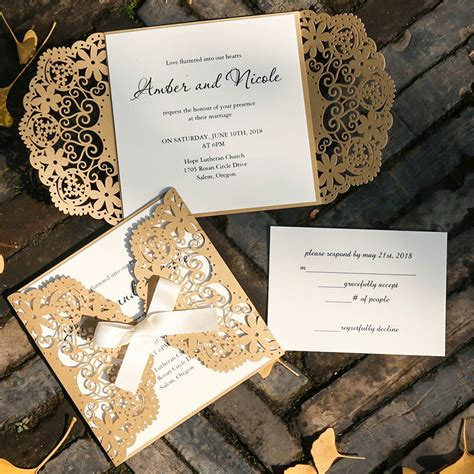 Ivory And Gold Wedding Invitations