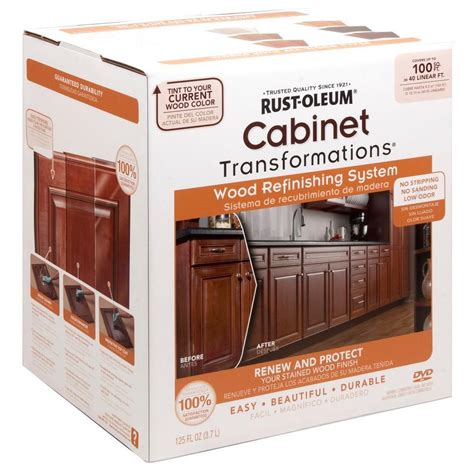 kitchen cabinet stain kit rust oleum transformations cabinet wood refinishing system kit 262495 the home depot
