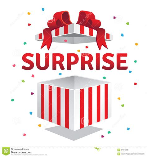surprise gifts opened surprise gift box stock vector illustration of