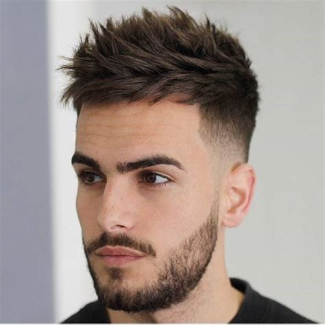 textured sides hair cuts men s textured crew cut with tapered and faded sides on
