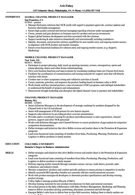 channel product manager resume sles velvet