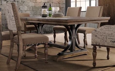 Metropolitan Dining Room Set driftwood 5 piece dining set with script chairs