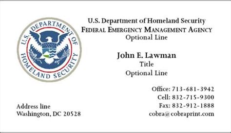 dhs business card template cobra printing productions fema business cards