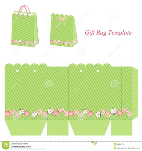 gift bag net template green gift bag template with stripes and flowers stock