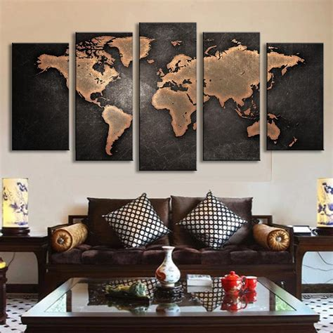 worldly decor 5 pcs set modern abstract wall art painting world map