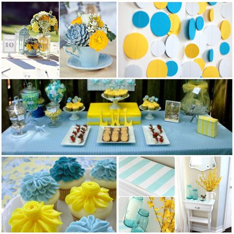 party themes with the color blue blue and yellow wedding centerpieces color inspiration