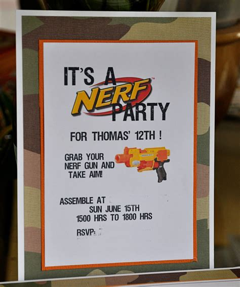 Life Outside The Fishbowl Birthday Parties Nerf Gun Birthday Invitation Template