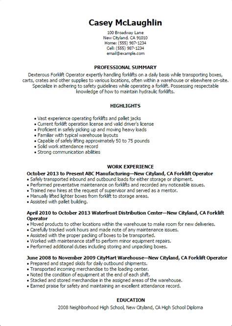 forklift resume sles forklift operator resume sle jennywashere