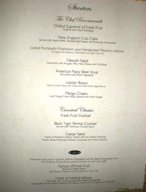 Carnival Dining Room Menu by Pin Carnival Valor Food Image Search Results On
