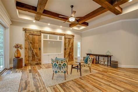 great room  coffered ceiling  cedar beams