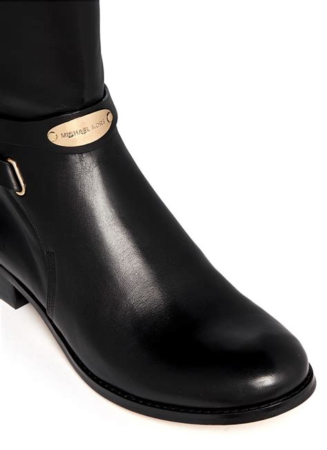 michael kors arley stretch back leather boots in black