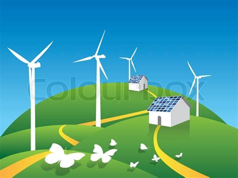 Home Building Plans Free by Clean Energy Environment Environmental Stock Vector