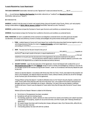 Sle Of Illinois Residential Lease Agreement Fill Online Printable Fillable Blank Pdffiller Illinois Lease Agreement Template