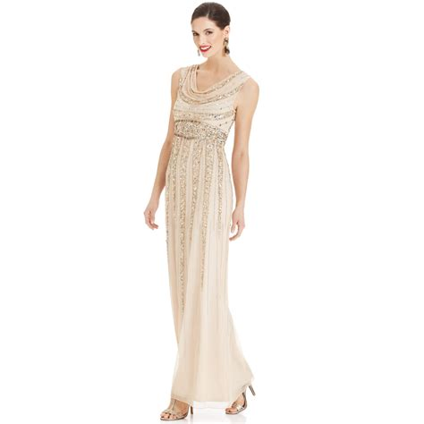 patra beaded dress lyst patra sleeveless beaded cowlneck gown in
