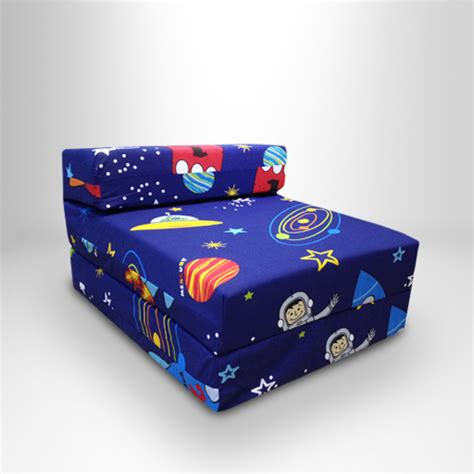 kids foam couch bed kids character foam fold out sleep over guest single futon