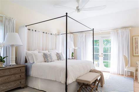 Iron Four Poster Bed east hampton beach cottage beach style bedroom new