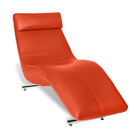 Chaise Orange Camille Leather Lounge Chaise Zuri Furniture