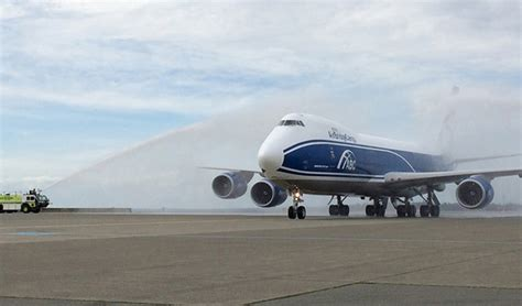 seattle tacoma welcomes airbridgecargo 747 8 freighter service air cargo week