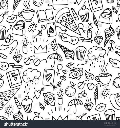 seamless pattern girly seamless pattern girly style seamless doodle stock