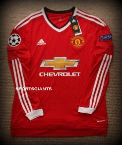 Jersey Manchester United Navy 201516 manchester united home jersey shirt sleeves chions league 201516 depay for sale