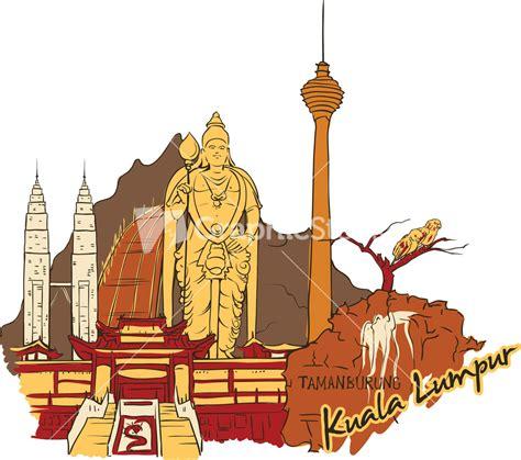 i doodle malaysia kuala lumpur vector doodle stock image