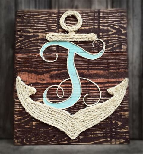 monogram anchor nautical reclaimed wood rope wall d 233 cor