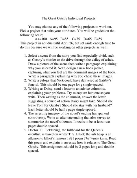 higher english critical essay the great gatsby research paper