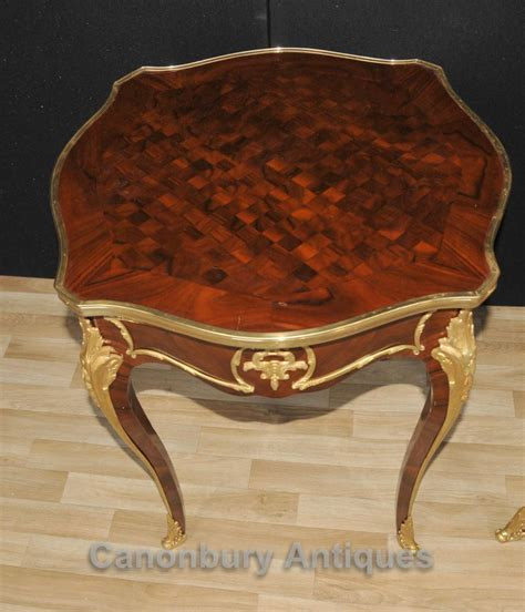 martini side pair french empire cocktail side tables parquetry inlay