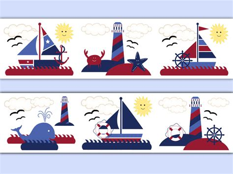 Lighthouse Wall Sticker nautical wallpaper border wall decals baby boy sailboat
