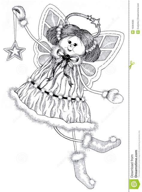 ink drawing  christmas angel stock illustration illustration  cheerful yuletide