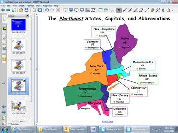 united states map for smartboard northeast region map and smartboard activities by rachael