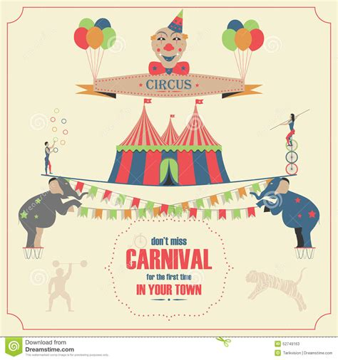 circus and carnival invitation card template stock vector