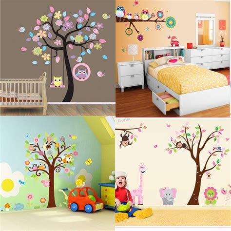 baby home decor diy cute owl tree pvc art wall stickers decals home decor