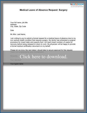 Request Letter Health Problem leave of absence exle letters lovetoknow