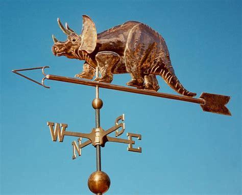 Handmade Weathervanes - dinosaur weathervane triceratops handmade of brass copper
