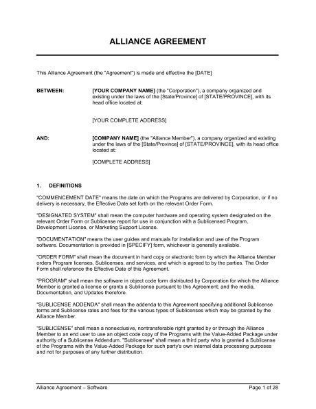 alliance agreement template alliance agreement software template sle form
