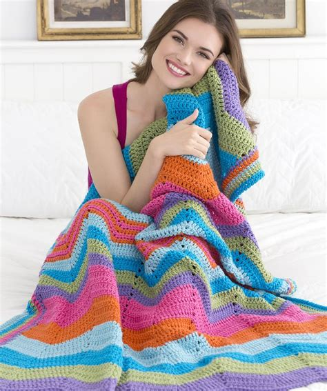 red heart pattern afghan bright ripple throw crochet pattern by red heart yarn
