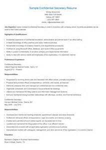 resume samples confidential secretary resume sample