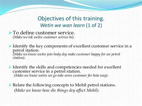 business butler writing objectives for customer service