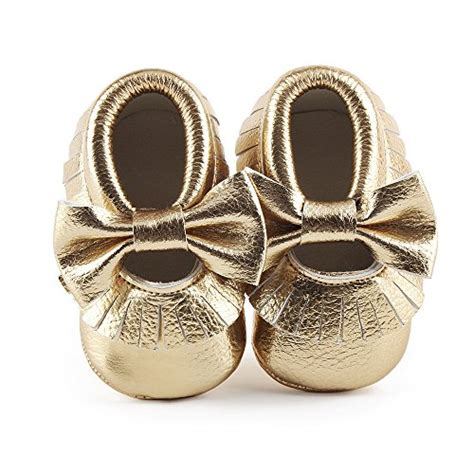 gold crib shoes delebao infant toddler baby soft sole tassel bowknot
