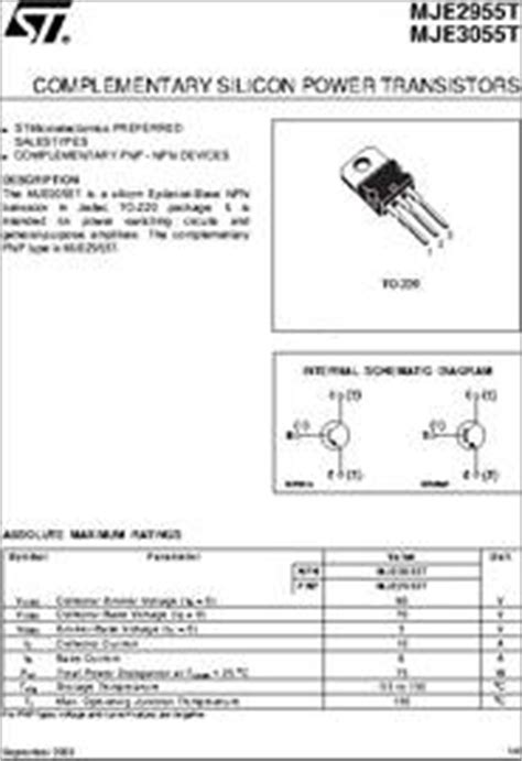 transistor data and equivalent mje3055t datasheet complementary silicon power transistors