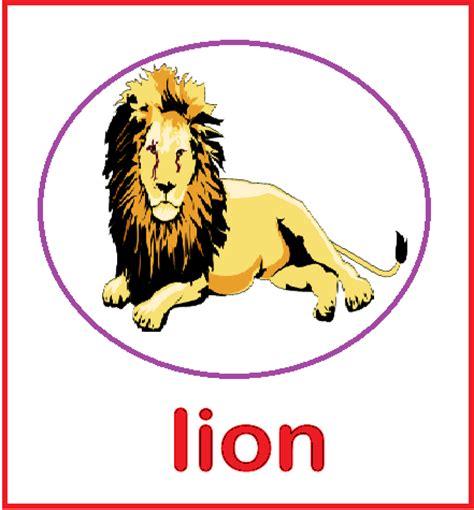 kindergarten worksheets animal flashcards lion
