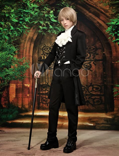 V Jumpsuit Lolis aristocrat sleeves cotton blend black