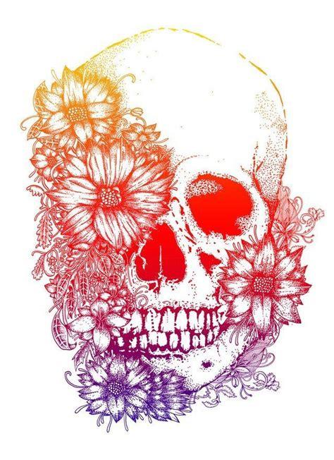 rainbow flowers skull design tattoos