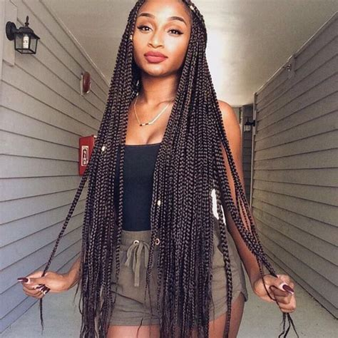 loose braid hairstyle for black women 3 loose box braids hairstyles for long hair women